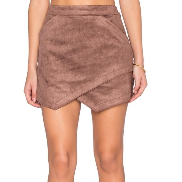 fba1a04f82 BCBGMaxAzria Skirts | Bcbg Womens Brown Faux Suede Skirt | Poshmark